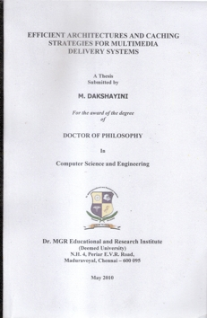 Thesis of M.Dakshayani